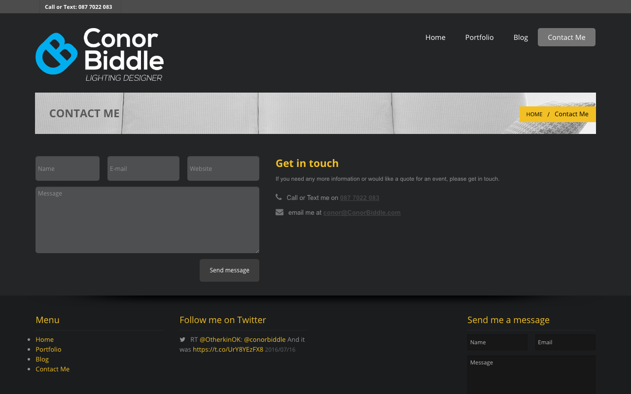 Conor Biddle Website Screenshot – 2